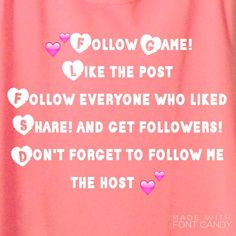 ✨ Follow Game! Get Followers!✨ It's the Follow Games, play and get followers! Like this post! Follow everyone that like and me! And watch your followers grow! Remember to share and tag your friends ;).  Important note: please only like if you are posh rules compliant, as I only follow posh compliant rules. Thanks! Tops
