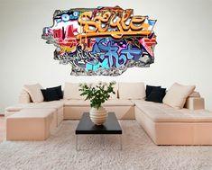 Graffiti Kunst Abstrakt Wandtattoo   Tolle Wanddekoration Für Das  Jugendzimmer. Der Graffiti Wandsticker Mit 3D