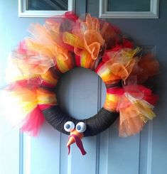 Fun & Simple wreath for November Thanksgiving Holiday! Great fall colors and a unique way of greeting people at your home! Gobble Gobble!