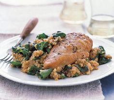 Pair chicken with a pilaf made of bulgur, a nutty-flavored grain used in Middle Eastern dishes. | A gallery of tasty dishes to whip up on the stove―most in just about 30 minutes.