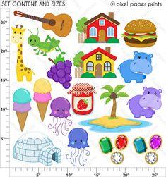 Alphabet Clipart Part 3 ABC clip art GHIJ por pixelpaperprints