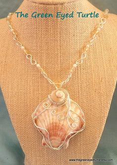 Wire Wrapped Sea Scallop Shell by TheGreenEyedTurtle on Etsy