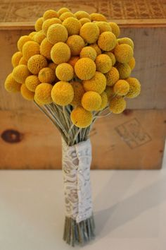 Yellow Billy Ball Wedding Bouquet Craspedia Bridal Bouquet in Autumn Wedding Color Mustard with lace handle