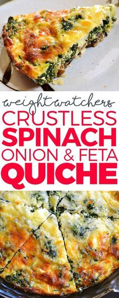 Crustless Spinach, Onion and Feta Quiche  Ingredients: 1 medium onion, diced 6 ounces Fresh Express Baby Spinach 2 large eggs 1/2 cup egg beaters (liquid substitute) (2 large eggs) 1/2 cup all purpose flour 1/2 tsp baking powder pinch cayenne pepper 1 1/3 cups non fat milk 1/2 cup feta cheese