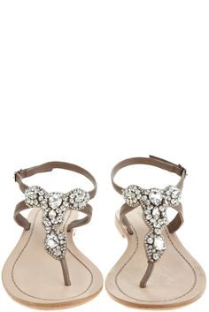Akan Natural Rhinestone Thing Sandal- flat leather thong sandals   a slightly dressy accompaniment   embellished with assorted rhinestones  tiny buckle closure at back of heel