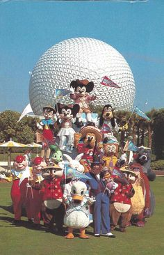 Epcot Mickey and Characters - Vintage Disney Postcards: EPCOT's Spaceship Earth