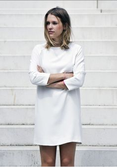 Minimal + Classic: simple perfect white dress #minimalist #fashion #style