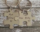 His and Her Puzzle Piece Keychain Set - Couples,Wedding, Anniversary Keychain. $27.50, via Etsy.