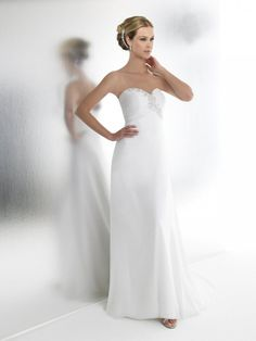 Empire Sweetheart Ruched Bodice Beaded Embroidered Chiffon Wedding Dress-we0034, $239.95