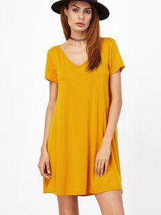 Buy it now. Yellow Caged V Back Swing Tee Dress. Yellow Sexy Polyester Deep V Neck Short Sleeve A Line Short Criss Cross Plain Fabric has some stretch Spring Tshirt Dresses. , vestidoinformal, casual, camiseta, playeros, informales, túnica, estilocamiseta, camisola, vestidodealgodón, vestidosdealgodón, verano, informal, playa, playero, capa, capas, vestidobabydoll, camisole, túnica, shift, pleat, pleated, drape, t-shape, daisy, foldedshoulder, summer, loosefit, tunictop, swing, day, offth...