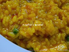 A comer y a callar: ARROZ CON POLLO CON THERMOMIX Chef Recipes, Couscous, Chana Masala, Risotto, Dairy Free, Curry, Food And Drink, Pasta, Menu