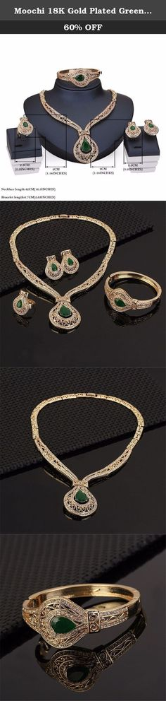 Moochi 18K Gold Plated Green Zircon Crystal Ebmedded Hollow Chain Jewelry Set. This gold plated jewelry set is shinning and beautiful. The color will not fade and we have one year warrant. It is the best gift for yourself, your friends and family.