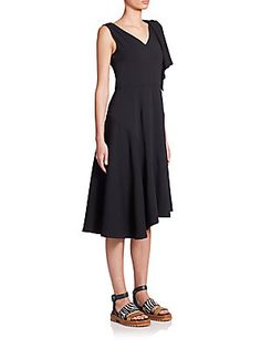 Marni Asymmetrical Crepe Dress - Black - Size