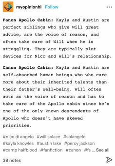 Percy Jackson Head Canon, Percy Jackson Fandom, Solangelo, Percabeth, Kane Chronicals, Apollo Cabin, Will Solace, Percy Jackson Characters, Best Authors