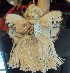 """Christmas Yarn Angel Tutorial. (Would also be a great """"kid project!)"""