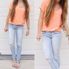 Buy cute pastel orange shirt and light washed skinny jeans. Teen Fashion, Love Fashion, Fashion Outfits, Womens Fashion, Aeropostale, Casual Outfits, Cute Outfits, American Eagle Outfits, Types Of Fashion Styles