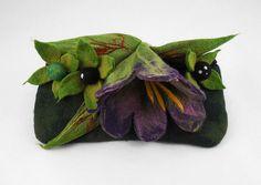 Felted Clutch BELLADONNA Bag (Atropa belladonna L.) POISONS handbag felt Nuno felt purple green fairy floral fantasy Fiber Art boho