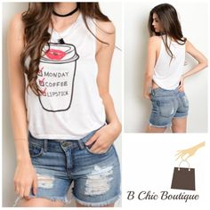 "Monday Coffee Lipstick Tank Top Super cute and  ""Monday Coffee Lipstick"" on a coffee cup graphic tank top. Made of soft rayon material. Has two side knots. Please check size chart in pic 4 for measurements. Bchic Tops Tank Tops"