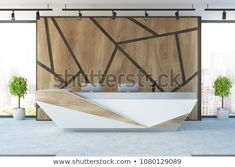 Futuristic reception desk with two computers in an office interior with wooden geometric pattern walls and potted trees. rendering mock up office Reception Desk Design, Office Reception, Reception Ideas, Counter Design, Potted Trees, Futuristic Design, Bespoke Design, Deck Design, Wall Patterns
