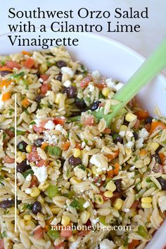 Southwest Orzo Salad with a Cilantro Lime Vinaigrette is the perfect pasta salad that brings the fun, bold flavors to your meals. Orzo Salad Recipes, Healthy Salad Recipes, Pasta Recipes, Vegetarian Recipes, Dinner Recipes, Cooking Recipes, Orzo Pasta Salads, Pork Pasta, Spinach Salads