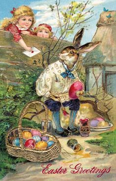 here are a few more easter graphics. i'm just taking a break from making my kids' school treats for their easter parties. Easter Art, Easter Crafts, Easter Bunny, Easter Greeting Cards, Vintage Greeting Cards, Vintage Postcards, Decoupage, Bunny Painting, Artist Painting