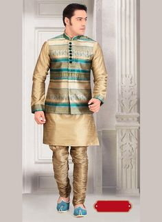 Add your sensitivity and vogue to all festive times in this Tan Brown Color Dupioni Raw Silk Fabric Mens Ethnic Indo Western Style. all patterns are intric Sherwani Groom, Mens Sherwani, Wedding Sherwani, Raw Silk Fabric, Royal Look, Indian Ethnic Wear, Wedding Men, Formal Wear, Menswear