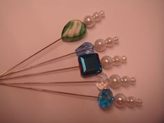 5B a collection of 5 crystal and pearl hat pins for hats, corsage or crafts   £2.95