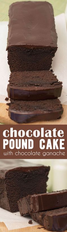 A Decadent Chocolate Pound Cake topped with even more decadent chocolate ganache ~ it's the ultimate chocolate lover's dessert! A Decadent Chocolate Pound Cake topped with even more decadent chocolate ganache ~ it's the ultimate chocolate lover's dessert! Decadent Chocolate, Chocolate Desserts, Chocolate Ganache, Chocolate Lovers, Ganache Cake, Just Desserts, Dessert Recipes, Baking Desserts, Cake Baking