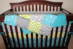 Custom Baby Bedding in Gray Deer Apache Blue Arrow Lime Chevron