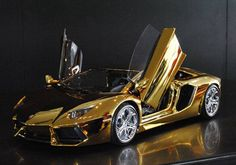 The $7.5 million Gold Lamborghini Aventador is coming to UAE In the UAE, a prototype of the super model is already available in the showrooms of Lamborghini in Dubai and will arrive in Abu Dhabi in a month's time. The model will be auctioned to the public and almost ten per cent of the proceeds from the sale will go to charity. Source