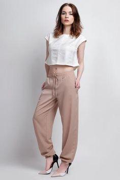 Beige Wide Legs Pants with Drawstring Waist
