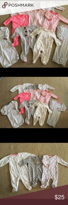 Bundle of baby girl footie pajamas 3 month Bundle of 8 footie pajamas all in great condition! Size 3 months the two gowns are size 0-3 month but fit more like 3 month. Bundle of 10 items. Pajamas