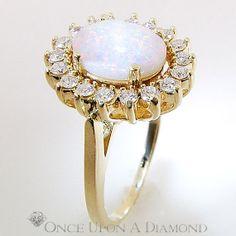 2.64ctw Cabochon Opal & Diamond Halo Right by OnceUponADiamond, $895.00