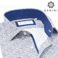 Rust, Blue Micro Dots with Blue Trim Sport Shirt Sports Shirts, Men Shirts, Casual Shirts, Sharp Prints, Menswear, Dots, Fabric, How To Wear, Blue