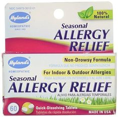Hyland's Natural Seasonal Allergy Relief Tablets, Non-Drowsy Indoor & Outdoor Allergy Relief, 60 Count //Price: $5.29 & FREE Shipping //     #hashtag1