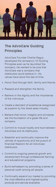 Click here to learn more about AdvoCare's Guiding Principles set in motion by founder Charlie Ragus:  https://www.advocare.com/120511550/Company/History.aspx