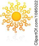 Clipart Hot Summer Sun And Reflection 12 Royalty Free Vector Illustration by elena