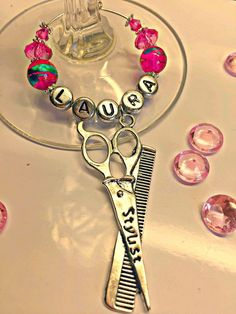 PERSONALISED HAIRDRESSER WINE GLASS CHARM :STYLIST SCISSORS PARTY GRADUATE GIFT #laurietwinkle