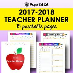 Teacher Lesson Planner 2017-2018 Teacher Planner by PaperdelSol