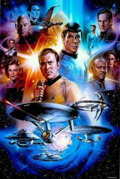 The Geeky Nerfherder: 'Star Trek Anniversary' by Tsuneo S. - The Geeky Nerfherder: 'Star Trek Anniversary' by Tsuneo S. Star Trek Enterprise, Star Trek Voyager, Nave Enterprise, Star Trek Starships, Star Trek 1, Star Trek 2009, Star Trek Show, Star Trek Original, Science Fiction