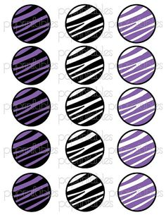 6931892130d Zebra Print Purple and Black Cupcake Toppers by PopPrintables