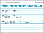 This is perfect for J who has been working so hard at writing his name lately... You can type in any letter, word, sentence or paragraph and it displays it on a printable sheet.