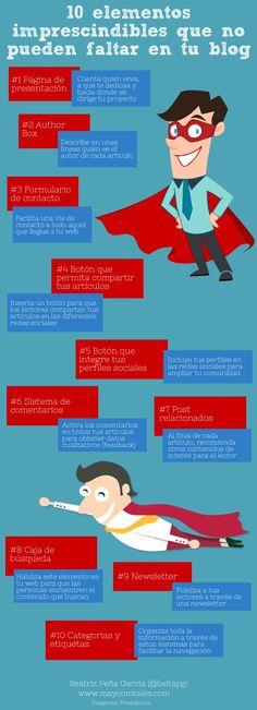 10 elementos imprescindibles que no pueden faltar en tu blog. || #infografias #diseñoweb #blogs