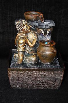 Buddha Indoor Tabletop Water Fountain with LED Light Feng Shui