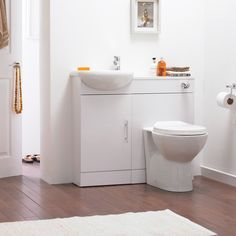 This is the idea for the toilet and sink combo for your utility. Not this finish - but the set up will be similar