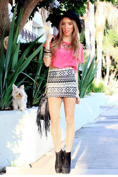 black and white tribal print skirt outfit - Google Search