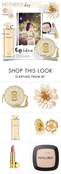 """I love You"" by einn-enna ❤ liked on Polyvore featuring Bellini, Love Moschino, Carolee, Salvatore Ferragamo, Bling Jewelry, Elizabeth Arden, L'Oréal Paris, polyvorecontest, mothersdaygiftguide and Mothersday2016"