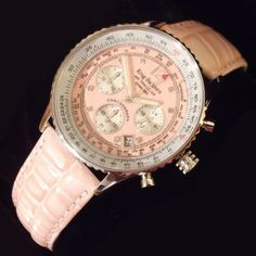 Brand New - RRP £329Krug Baümen Air Traveller Pink Dial Pink Strap 400515DS Unisex Sports Split Time Chronograph with Tachymeter function and Slide Rule. Pilots can use the slide rule to get estimates of important information such as flight time and fuel consumption. Features 8 single cut diamonds