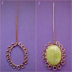 *Bizsugyár - free wire wrap jewelry tutorial to frame a cab #Wire #Jewelry #Tutorials