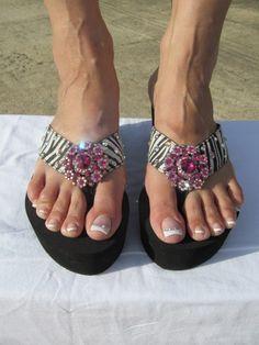 Miss Communication - Zebra Black Wedge Flip Flop  Size 6 thru 10